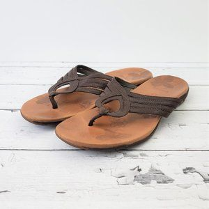 MERRELL 10 Lidia Mahogany Brown Leather Sandals